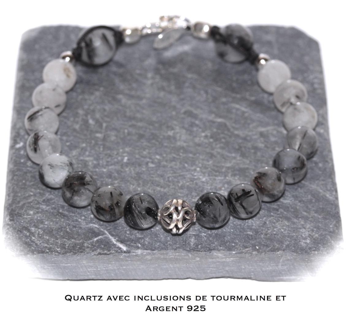Bijou de poignet Aequilibrium en Quartz Tourmaline et Argent