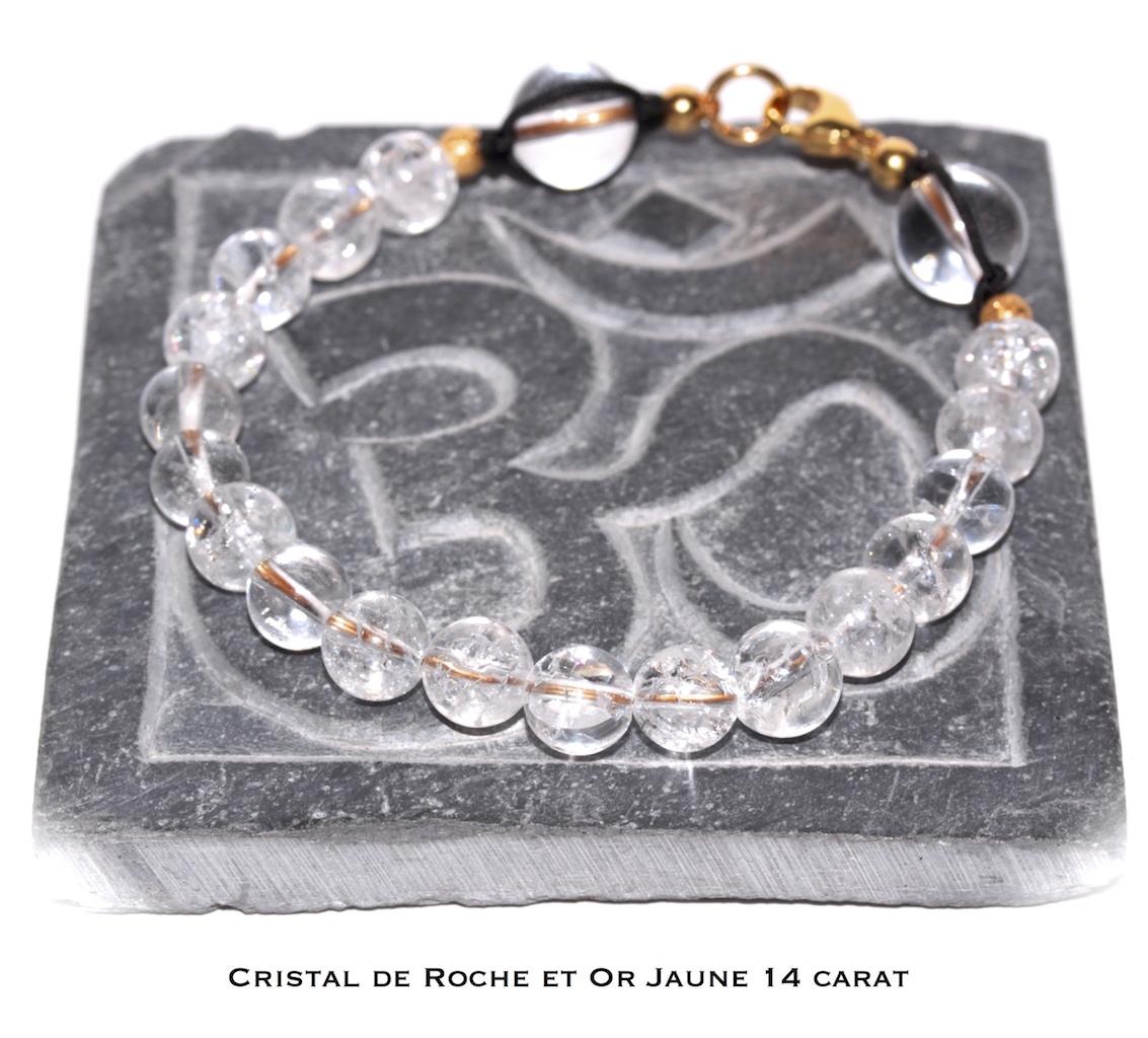Bijou de poignet en Cristal de Roche et Or Jaune