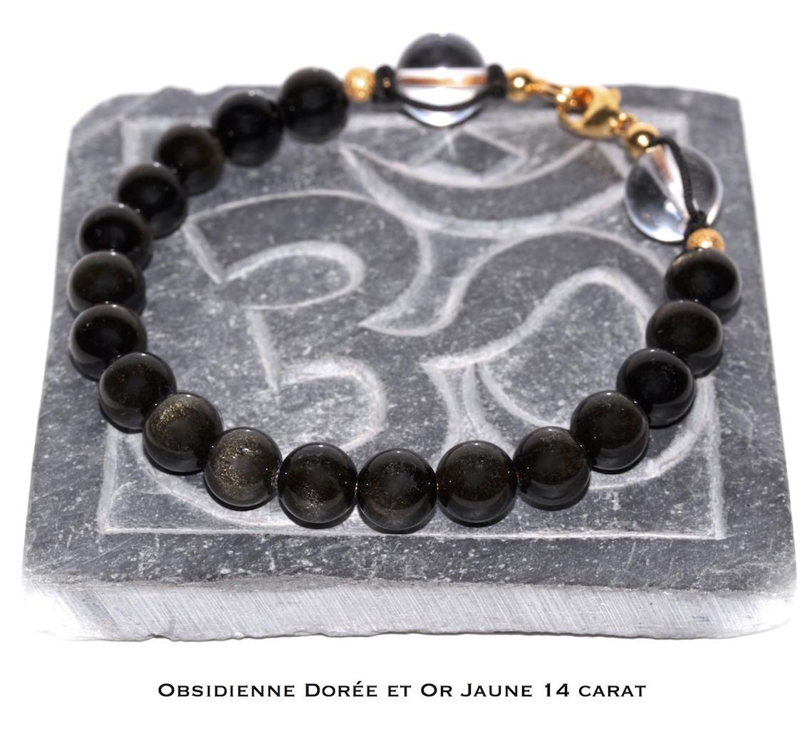 Bijou de poignet en Obsidienne Dorée et Or Jaune