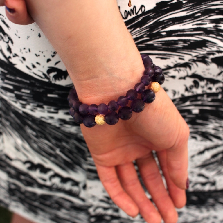 Bracelets pour femme en Améthyste et or jaune 14 carat