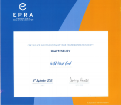Award Category:  Oustanding Contribution to society   Awarding Body:  EPRA and Grand City Properties   Project:  Wild West End   Partner:  Shaftebsury   Year:  2018