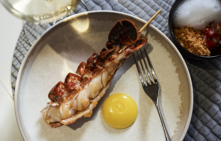 Konro grilled langoustine, lemon puree