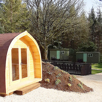 Rookery Farm Glamping  3 shepherds huts & 2 glamping pods  Near Broadway Tower Book individually or as a group Picturesque views & peaceful surroundings 5 minutes walk to Broadway Tower More details….