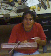 Bennie Ration at his workbench in Albuquerque, NM