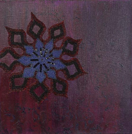 Geometric Motif by Hayley Mallett acrylic on canvas with bead embroidery 400mm x 400mm (unframed) £305.JPG