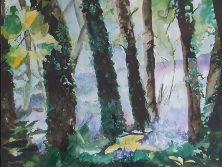 Bluebells under Trees by Sheila Noble - watercolour - 470mm x 600mm (framed) - £115.JPG