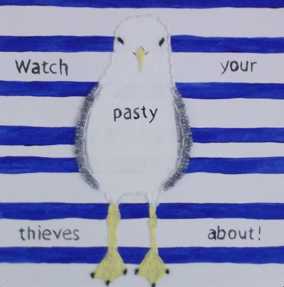 Watch your Pasty Thieves about by Hayley Mallett mixed media 300x300mm £49 mounted..JPG