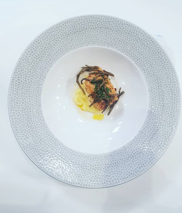 Pan fried cod with Alioli and samphire pickle 😋😋 #tapas #alioli #foodandrinkwales #spanishfood