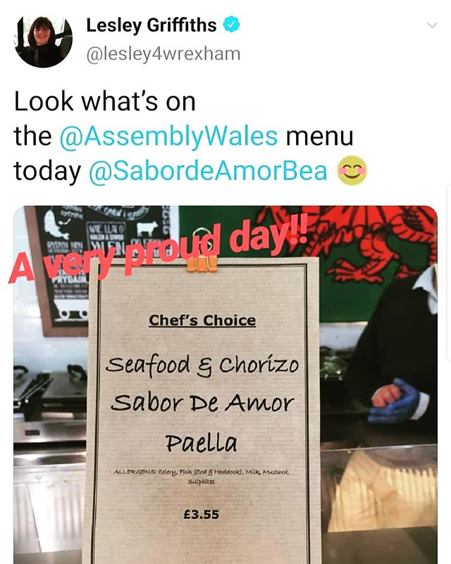 We are so excited! Our Paella sauce in the menu at the Welsh Assembly today. 😍🥘💃 . . . . .  #paellasauce #paella #tapas #welshspanish