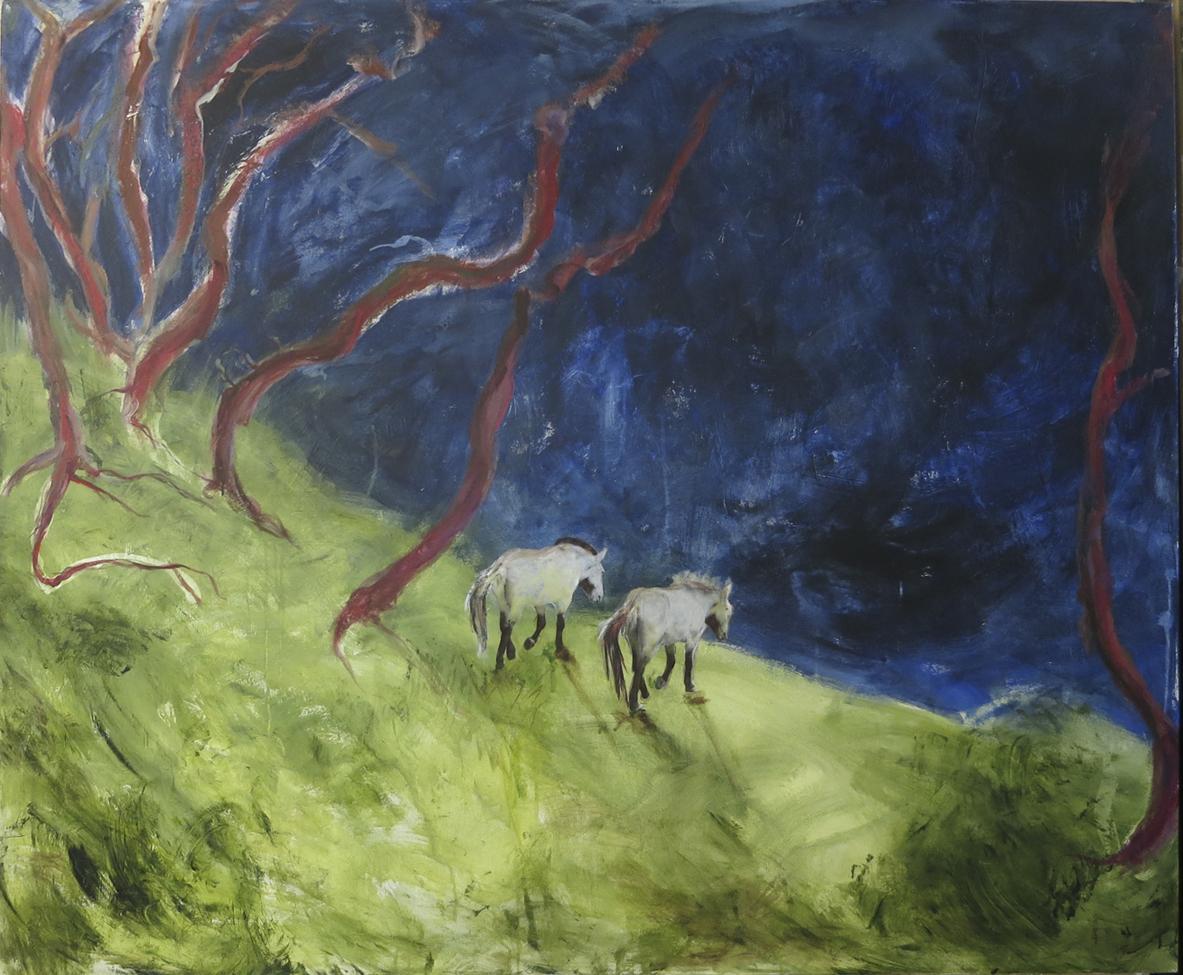 "Pryzlawski's Horses on the Verge 54""x 66"""