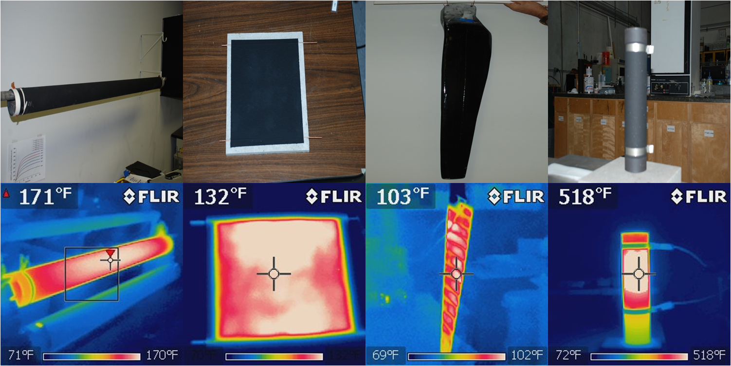 Examples of materials heated with NEETcoat®, from left to right: 1) 76-mm OD carbon steel pipe, 2) cement board panel, 3) epoxy composite wind blade, 4) steel pipe prototype of High-Temp NEETcoat®.