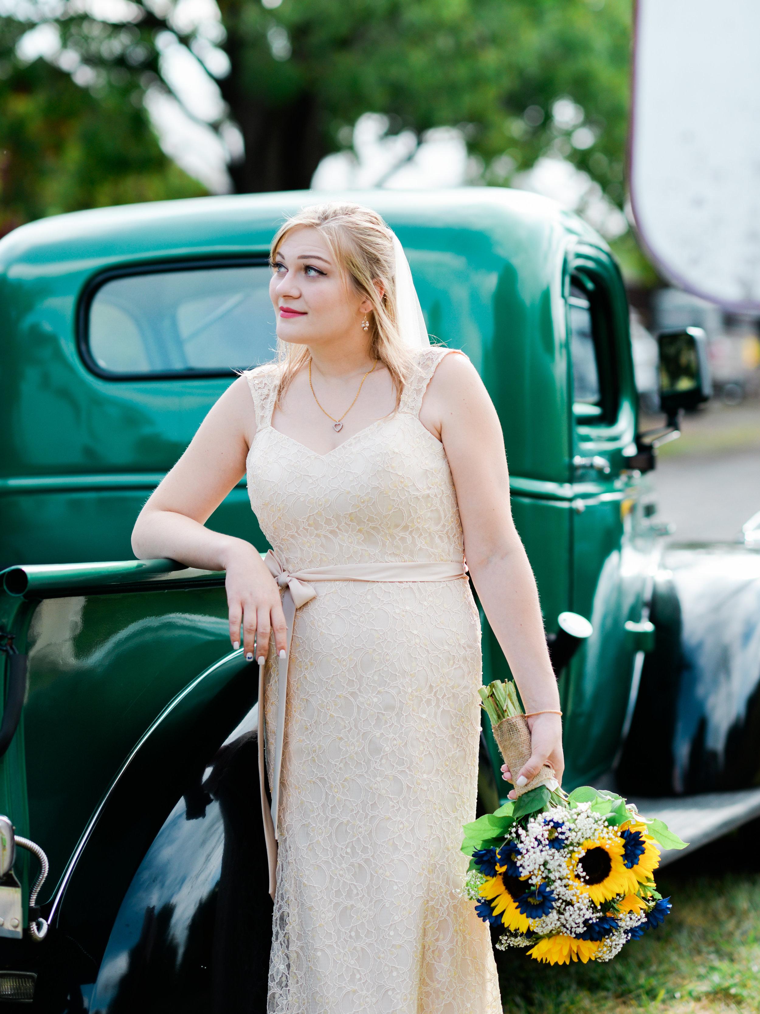 bride with vintage truck