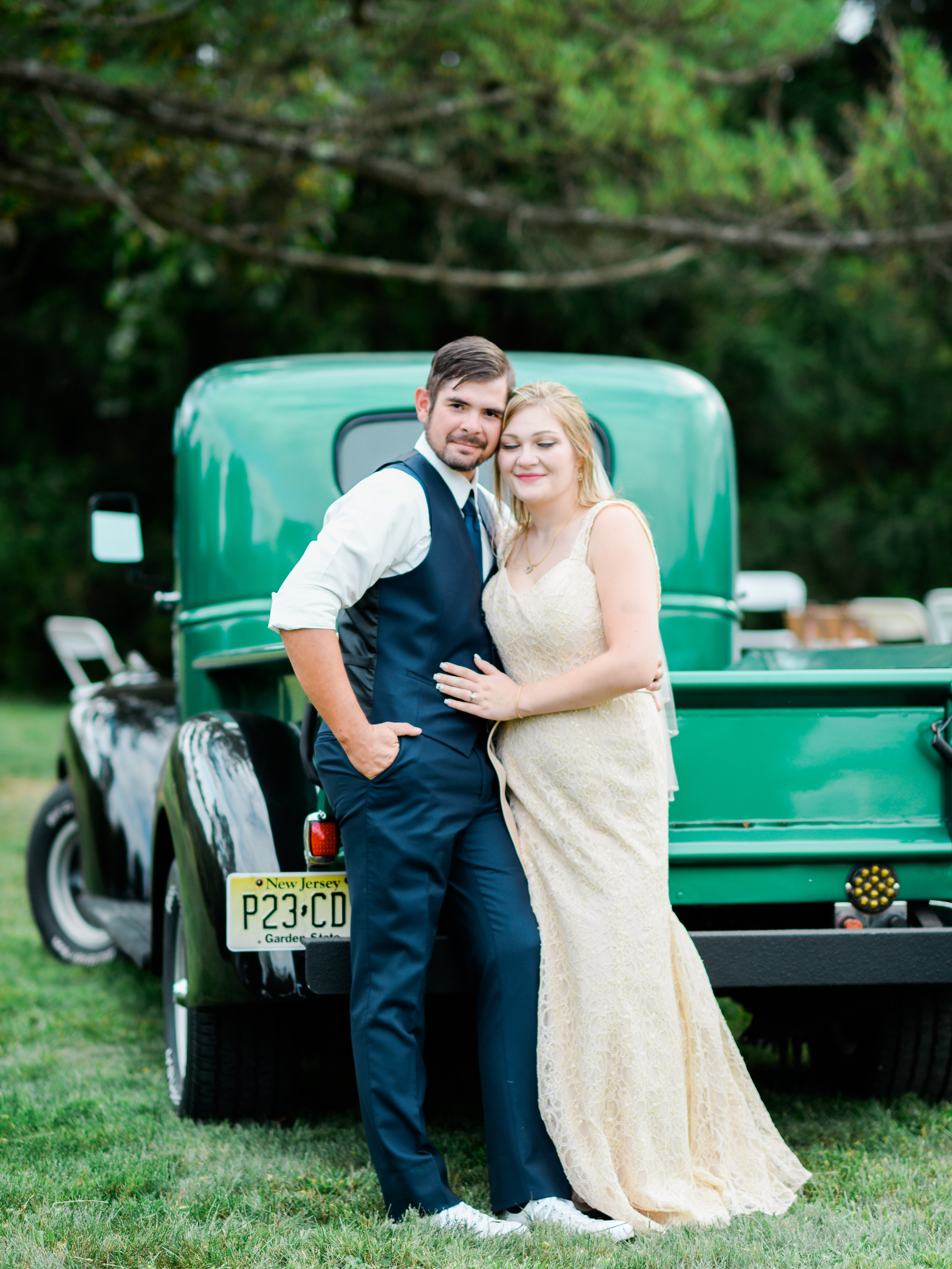 wedding couple with old truck