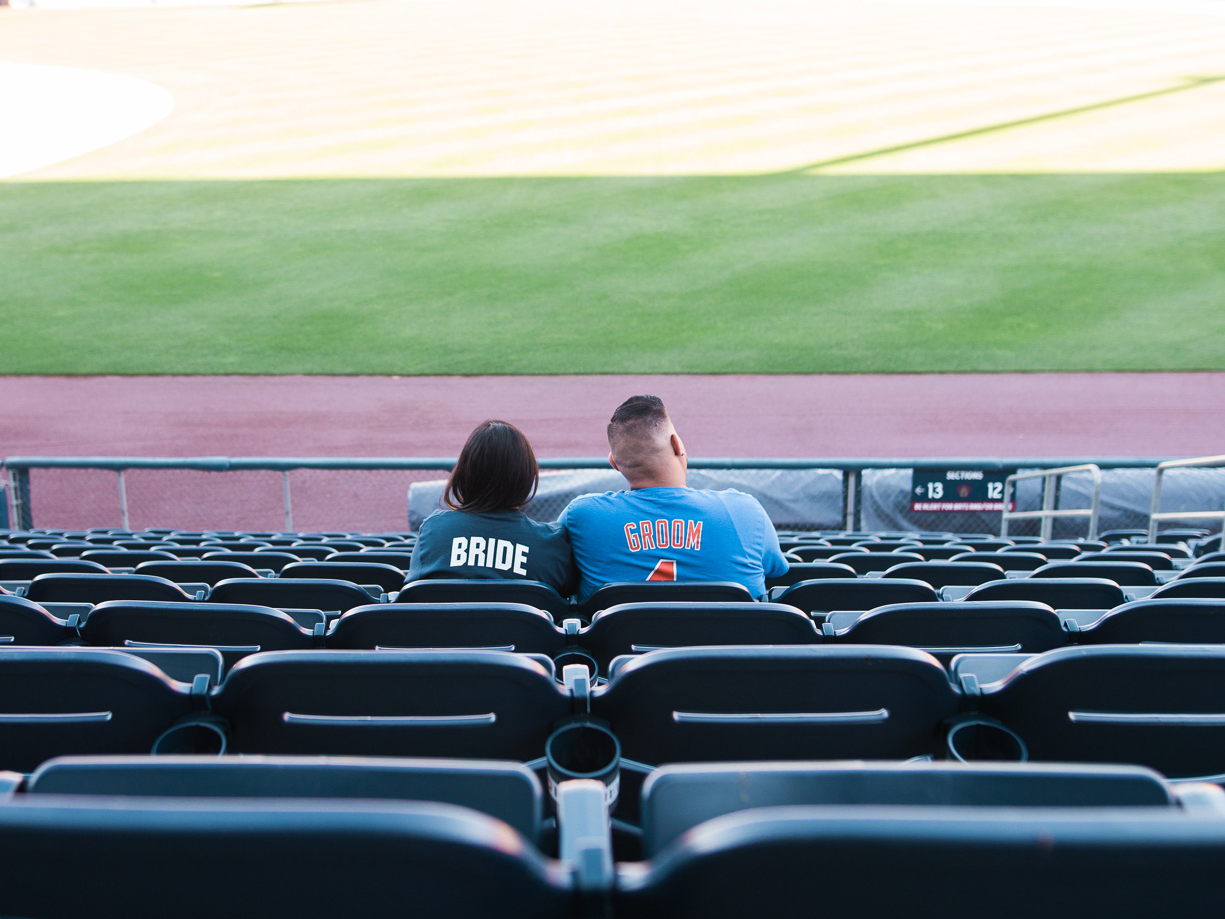 bride and groom baseball stadium