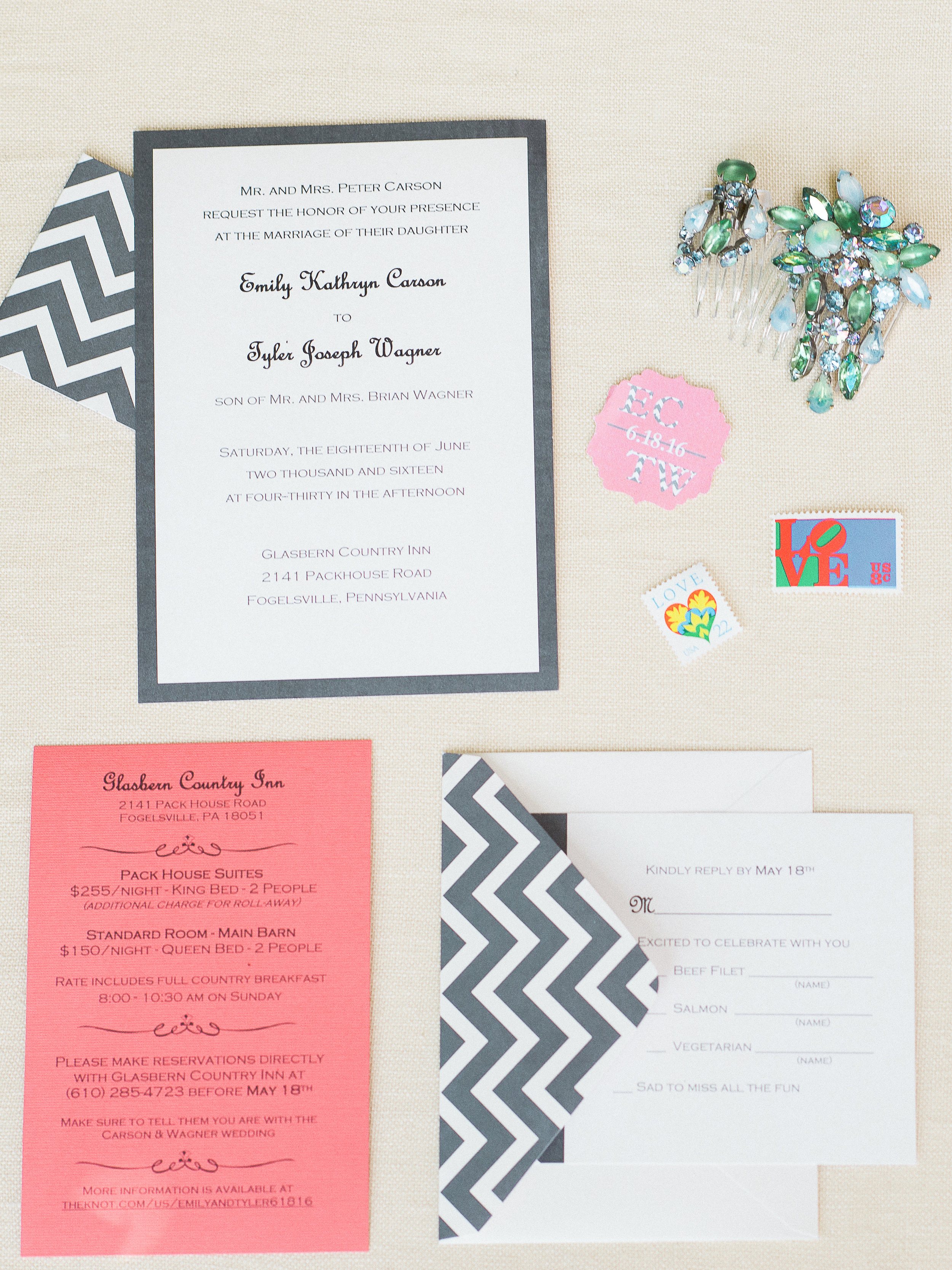 grey and peach wedding invitation