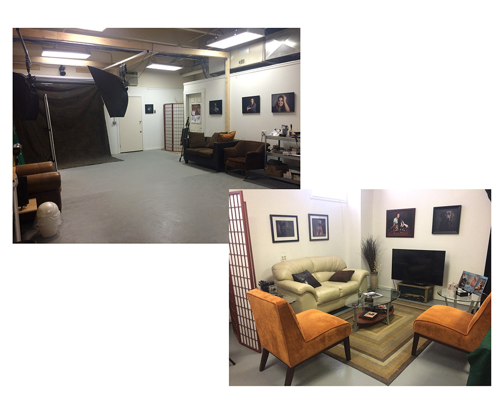 New space with entry and shooting area above and sales area right.