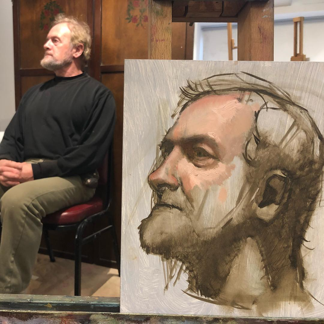 Zeller's portrait demo, seen here in progress, for students at The Schoolhouse for Art in Enniskerry, Ireland