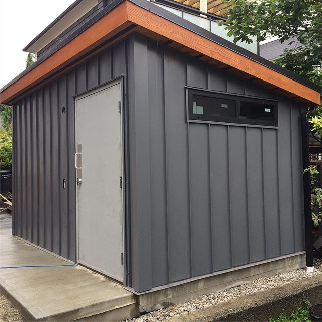 This project started with demolition of a rat infested building. So I suggested to build a modern looking storage shed built on an on grade slab. This is design me and my client came up with. #outwitholdinwiththenew #modern #steelsiding #ongradeslab #cedarfacia #nomorerats #birchplyinterior #cleandesign #aprovedbychad