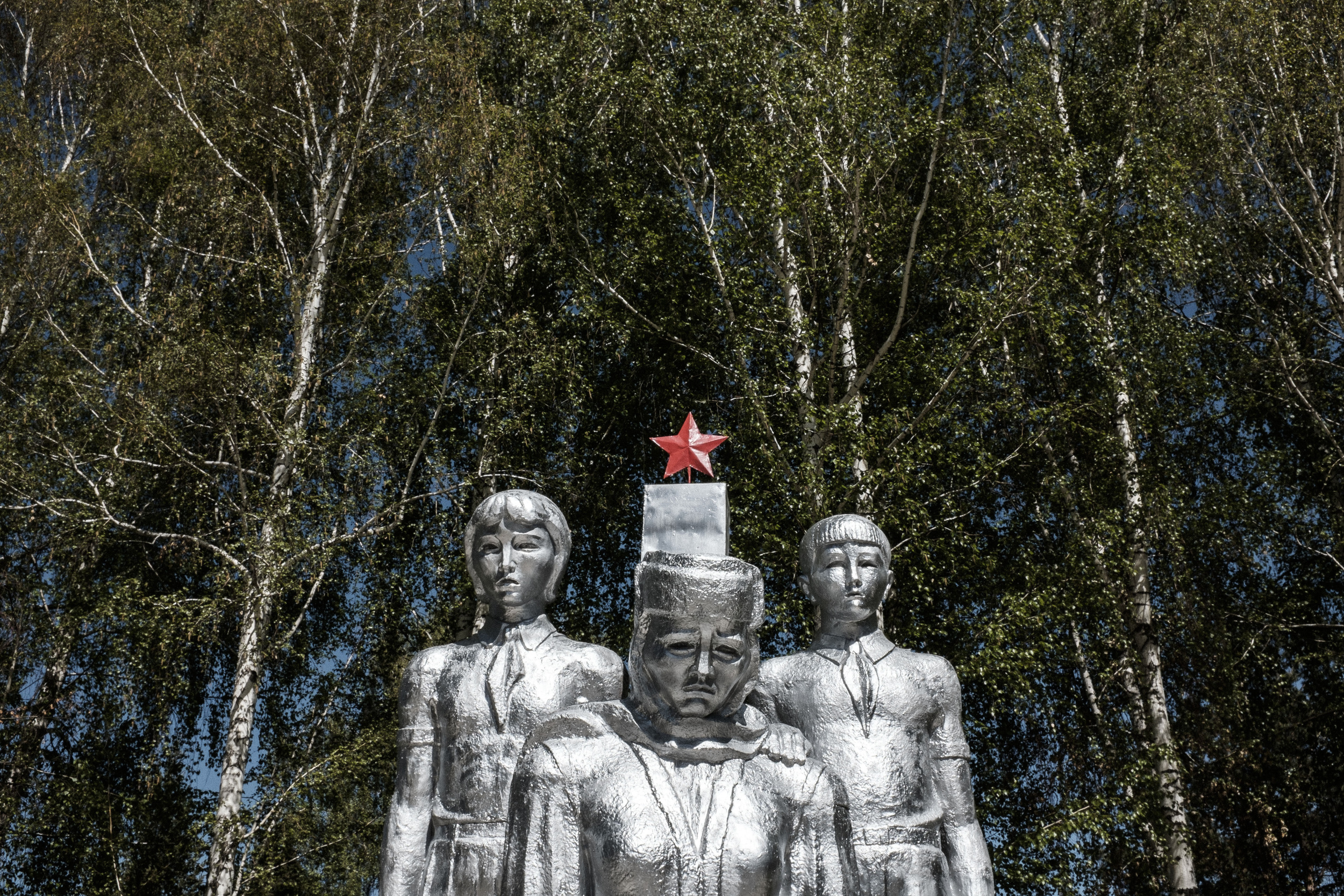 WWII monument in Jeti Öghüz village, Est-Kyrgyzstan. About 365,000 Kyrgyzstanis were mobilized during World War II, according to official figures; 115,000 of them died. Jeti Öghüz, May 4, 2015