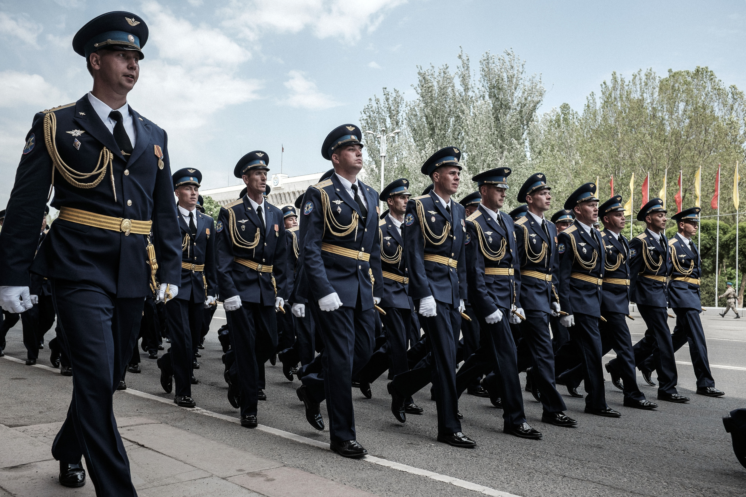 Russian soldiers on the rehearsal for the military parade, which held on Ala-too square on May 7 in Bishkek, Kyrgyzstan. Russian Armed Forces took part first time in history on festivities of Victory day oranized in foreign country. Bishkek, Ala-too square, May 7, 2015