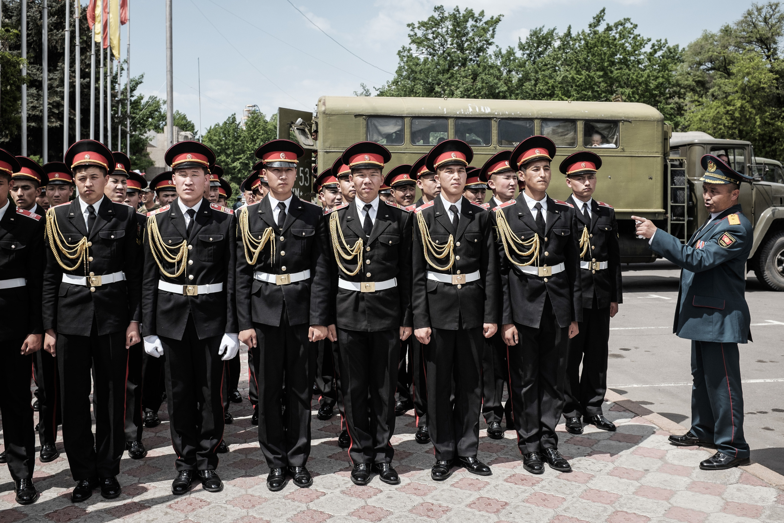 Cadets leaving Bishkek's central after a successful rehearsal for the military parade of the 70th anniversary of Great Victory. Bishkek, May 7, 2015