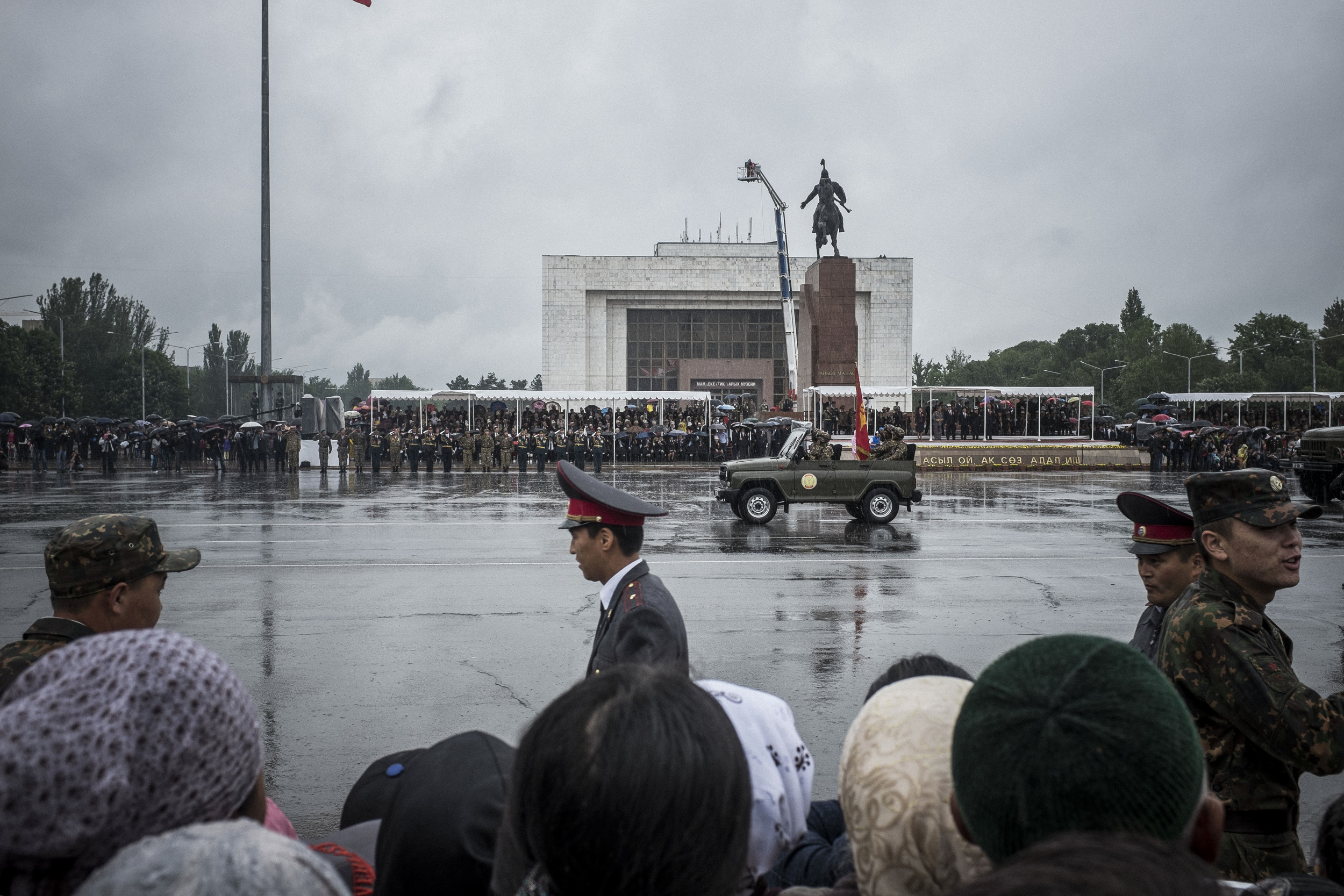 Kyrgyzstan celebrates the 70th anniversary of the Great Victory with military parade on the Capital's main Ala-too square. Bishkek, May 9, 2015.