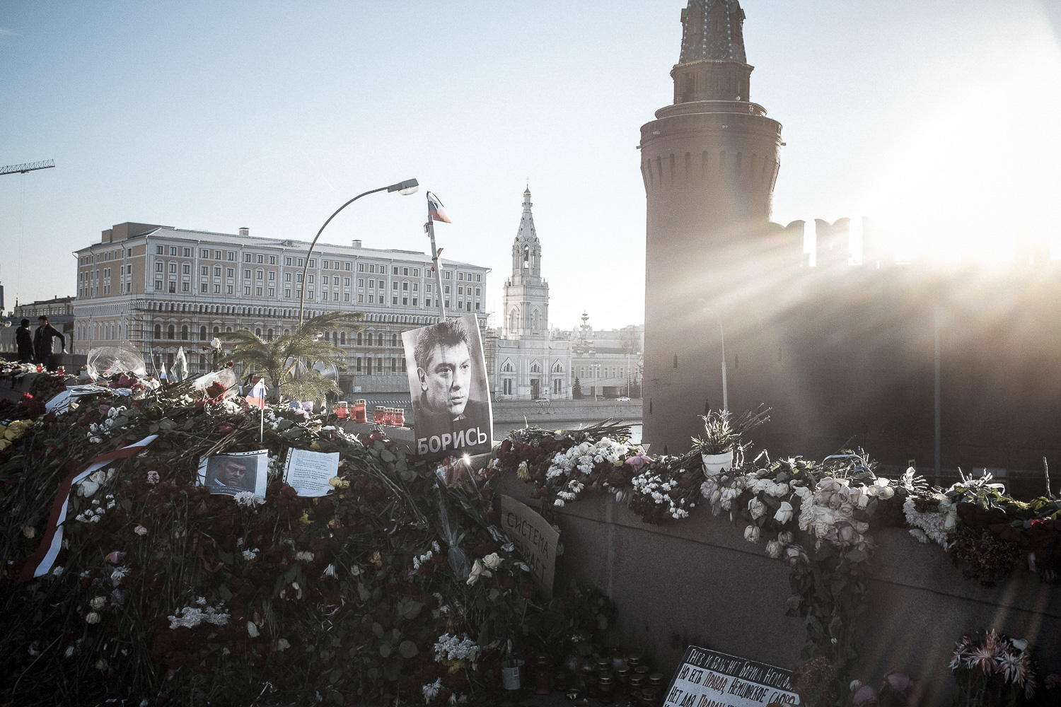 The Bolshoy Moskvoretsky bridge few days after Boris Nemcov murder.