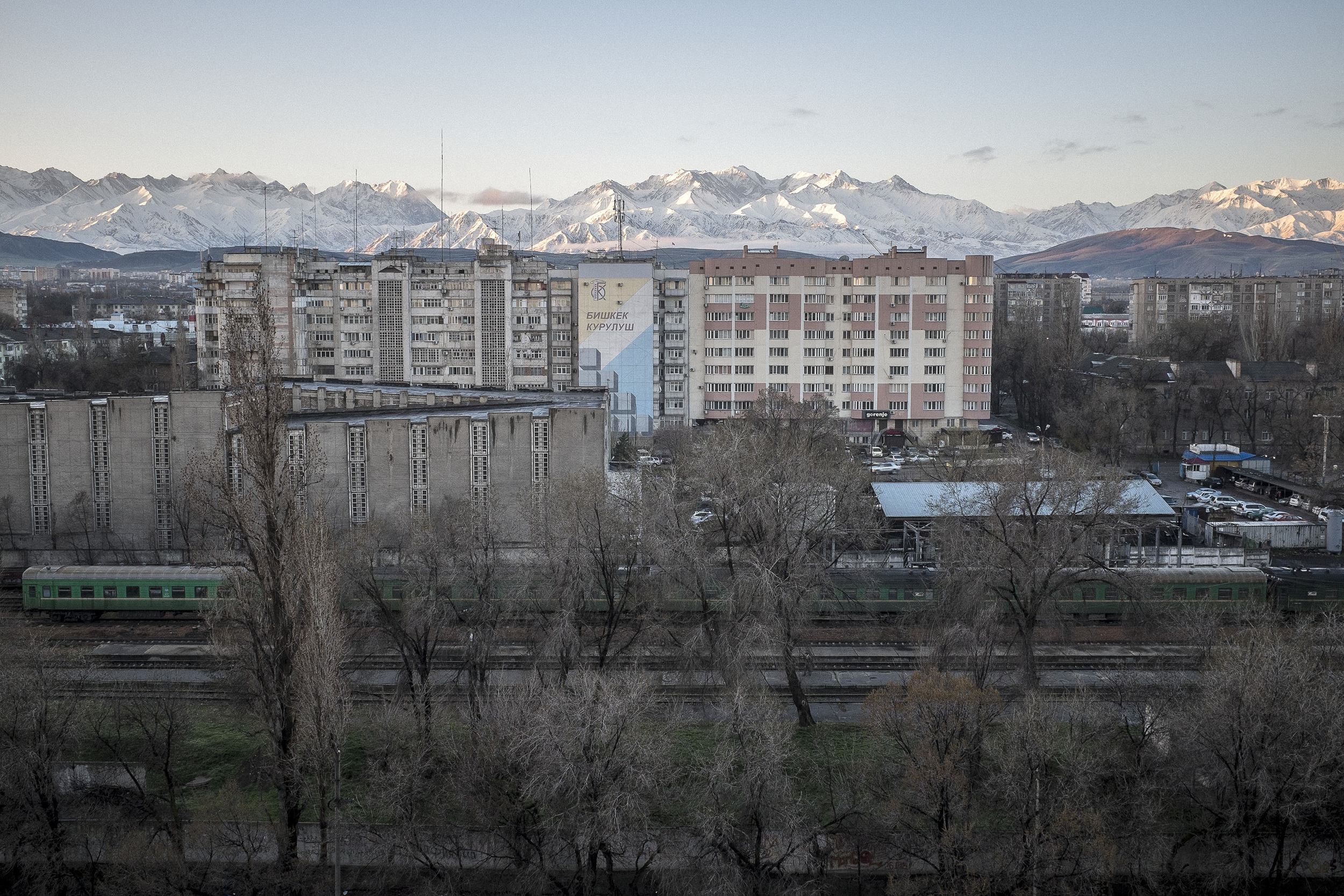 Overview of Bishkek the capital of Kyrgyzstan with the Ala-Too mountains in the background.