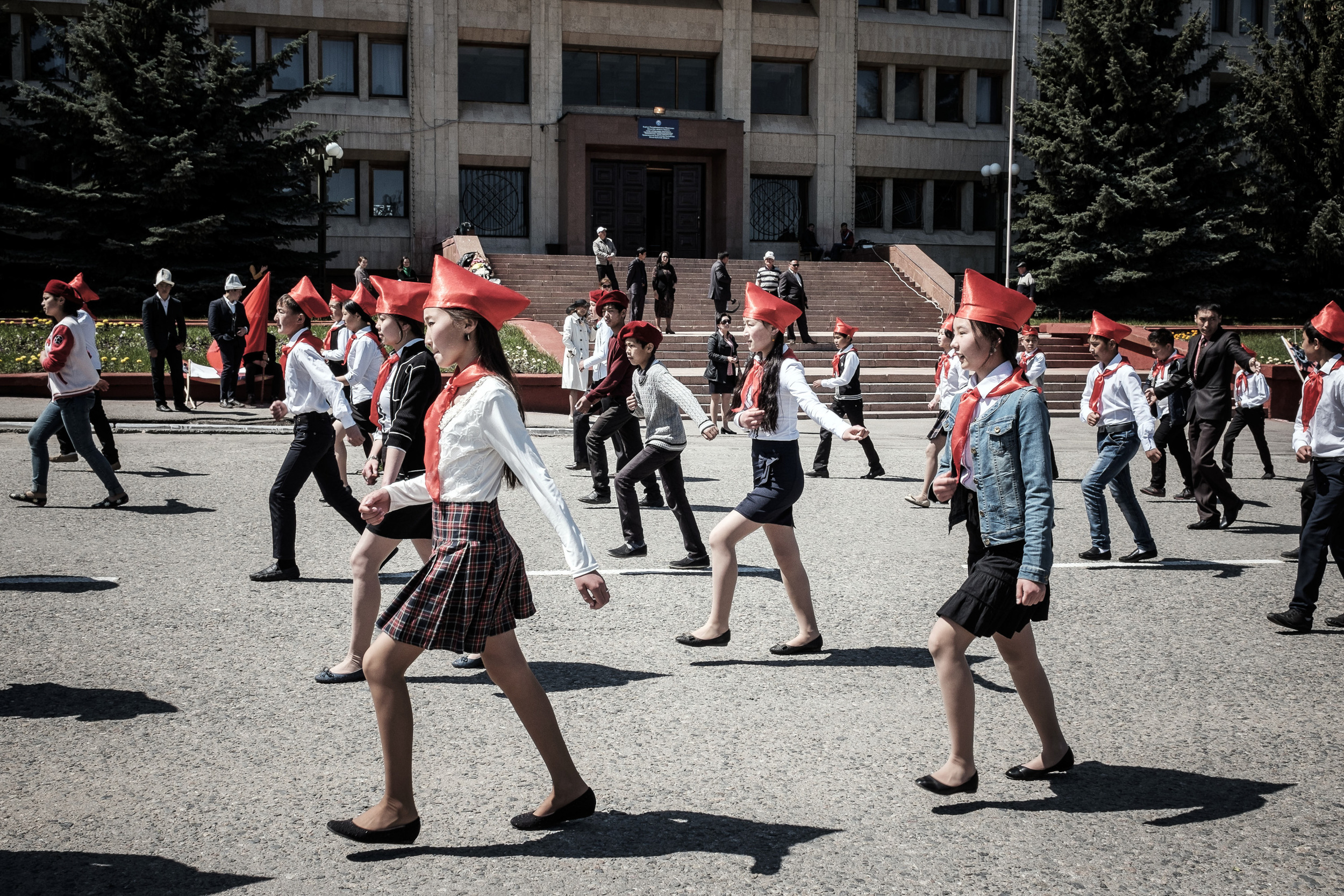 Rehearsal of the Victory day Parade (9th of May) on the main square of Karakol city. Issyk-Kul region, Kyrgyzstan.