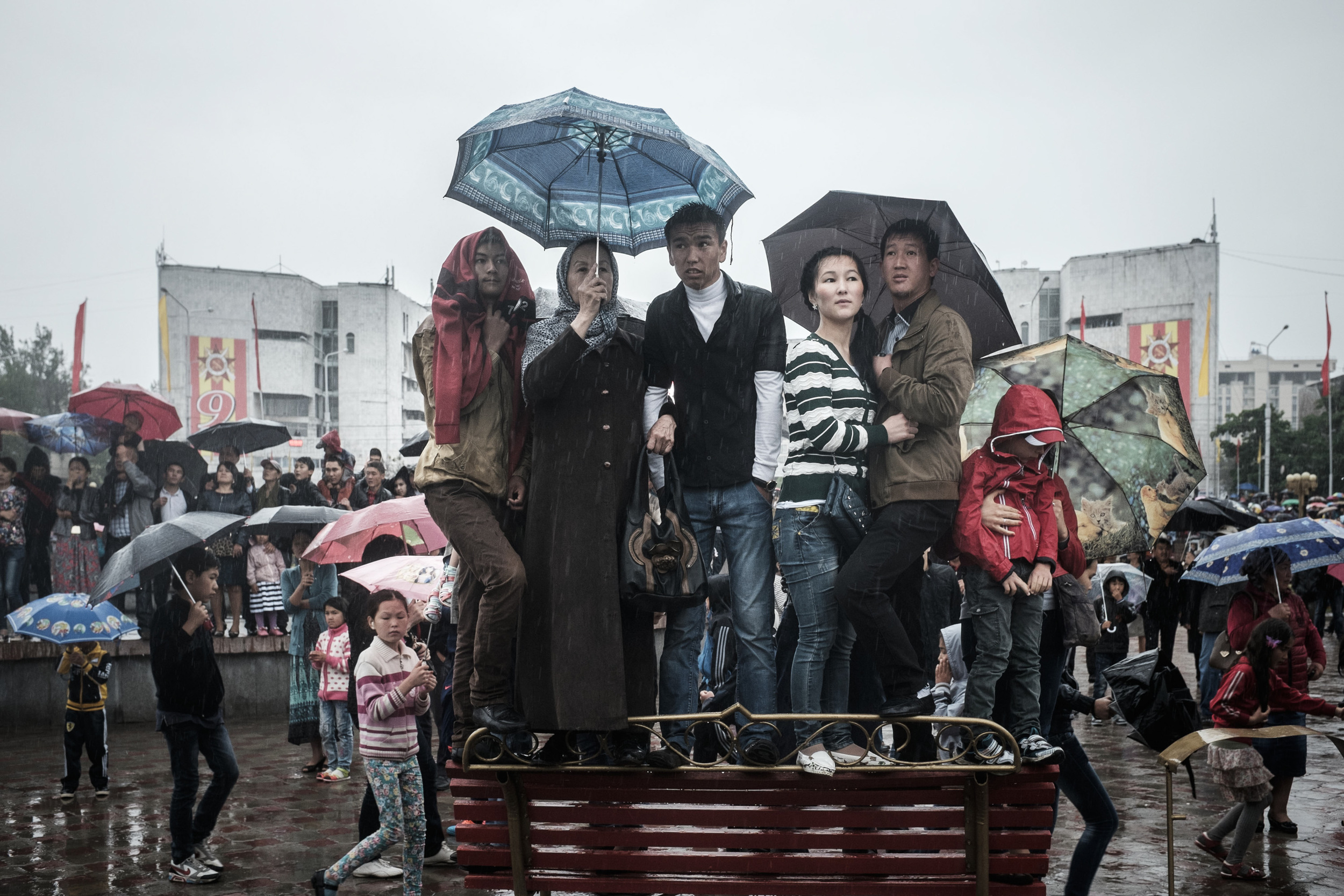 Heavy rain hit Victory Day Parade at Bishkek's Ala-Too Square.on assignment for EurasiaNet.org. See the full story  here !