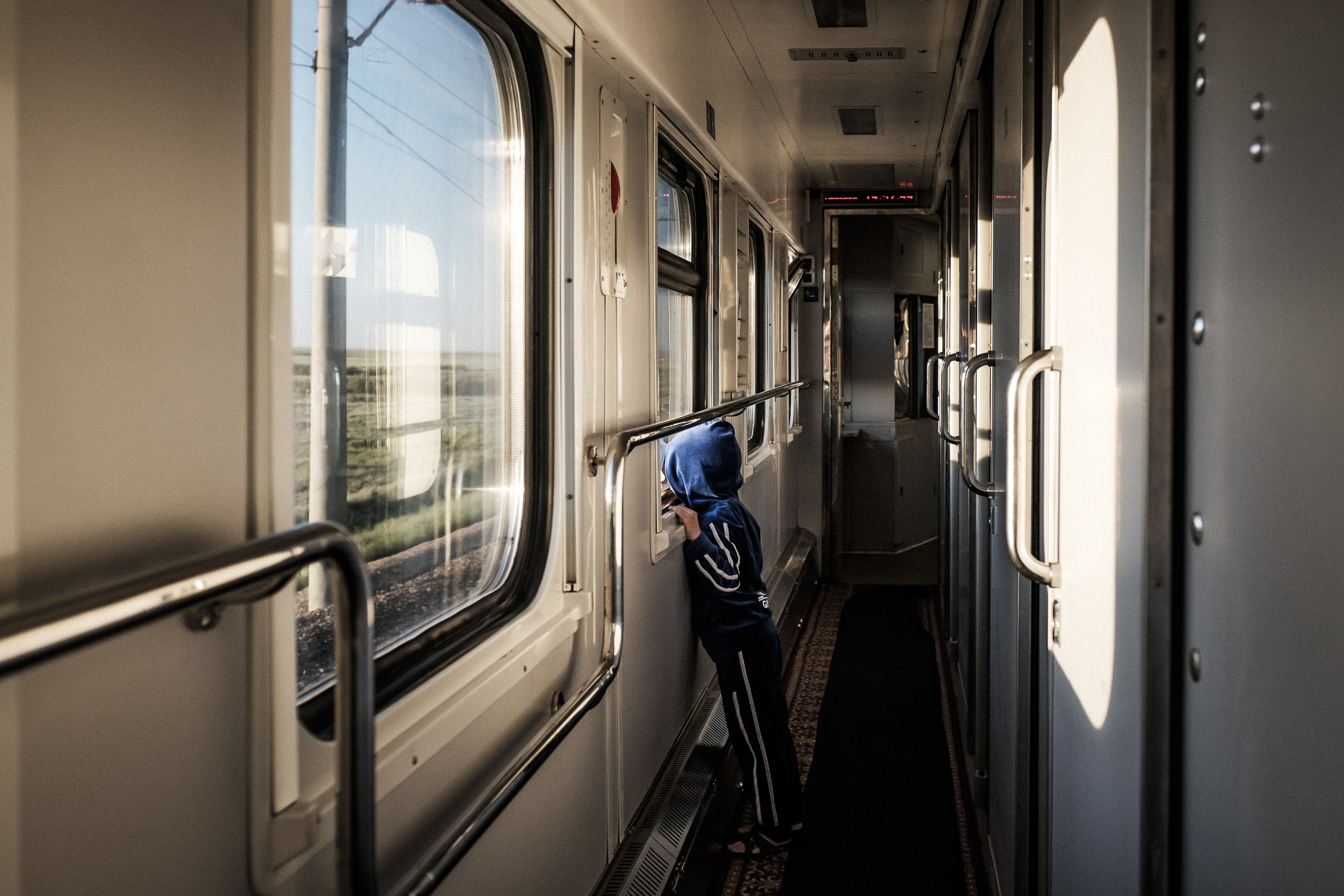 On the train from Astana to Almaty. Distance 1300 km, travel time app. 20 hours.
