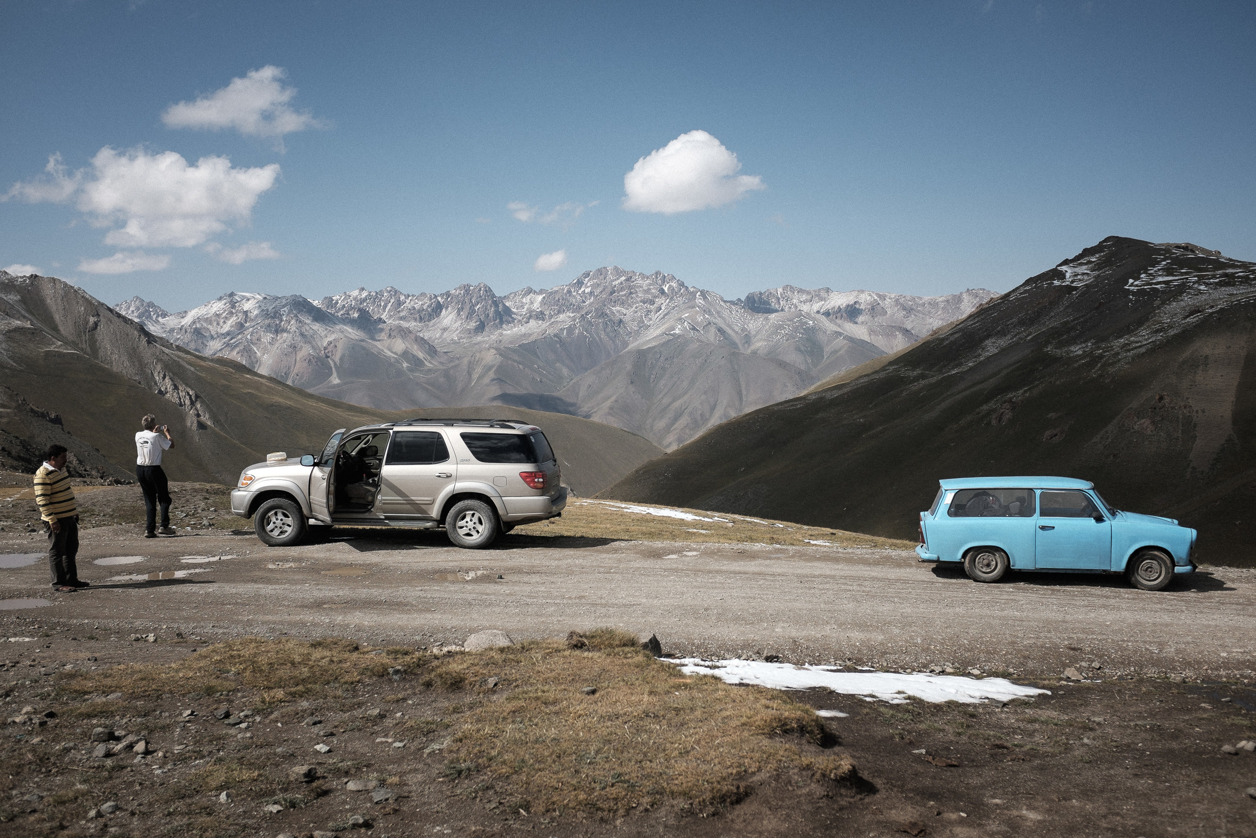 My adventures with Paul Hartl. Paul is an accountant from Canada and professional rally driver, was born in Czech Republic. Paul started an overland journey from Prague with his friend and this lovely blue Trabant. It was a pleasure to have a few days break with him at one of Central-Asia's best place, the Song-Köl lake.