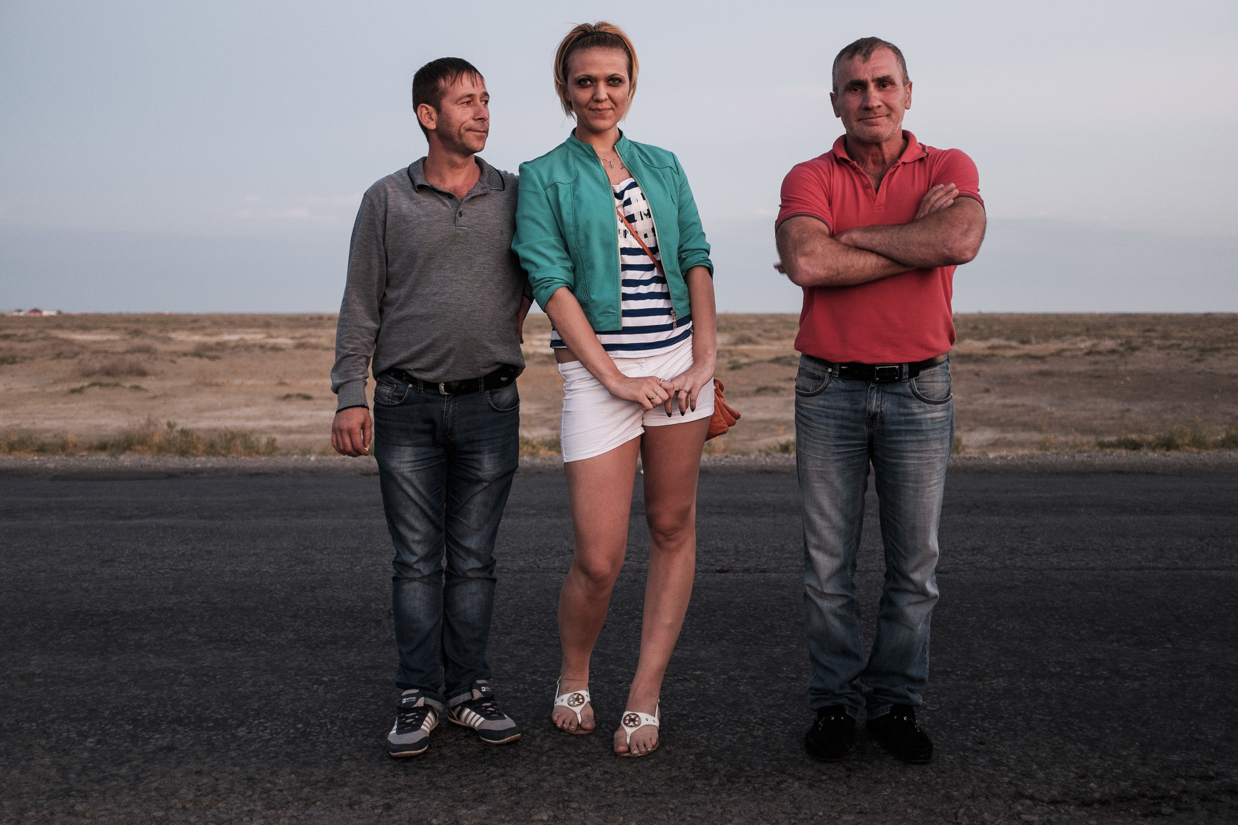 Ramzan Agyin, Sveta, Ramzan Dva. Ramzans are chechen shared taxi drivers living in Astrakhan (Russia), Sveta is russian tourist heading from Almaty (Kazakhstan) to Stavropol (Russia).  The distance is nearly 360 km between Atyrau and Astrakhan but the highway is the worst paved road what I've ever seen.
