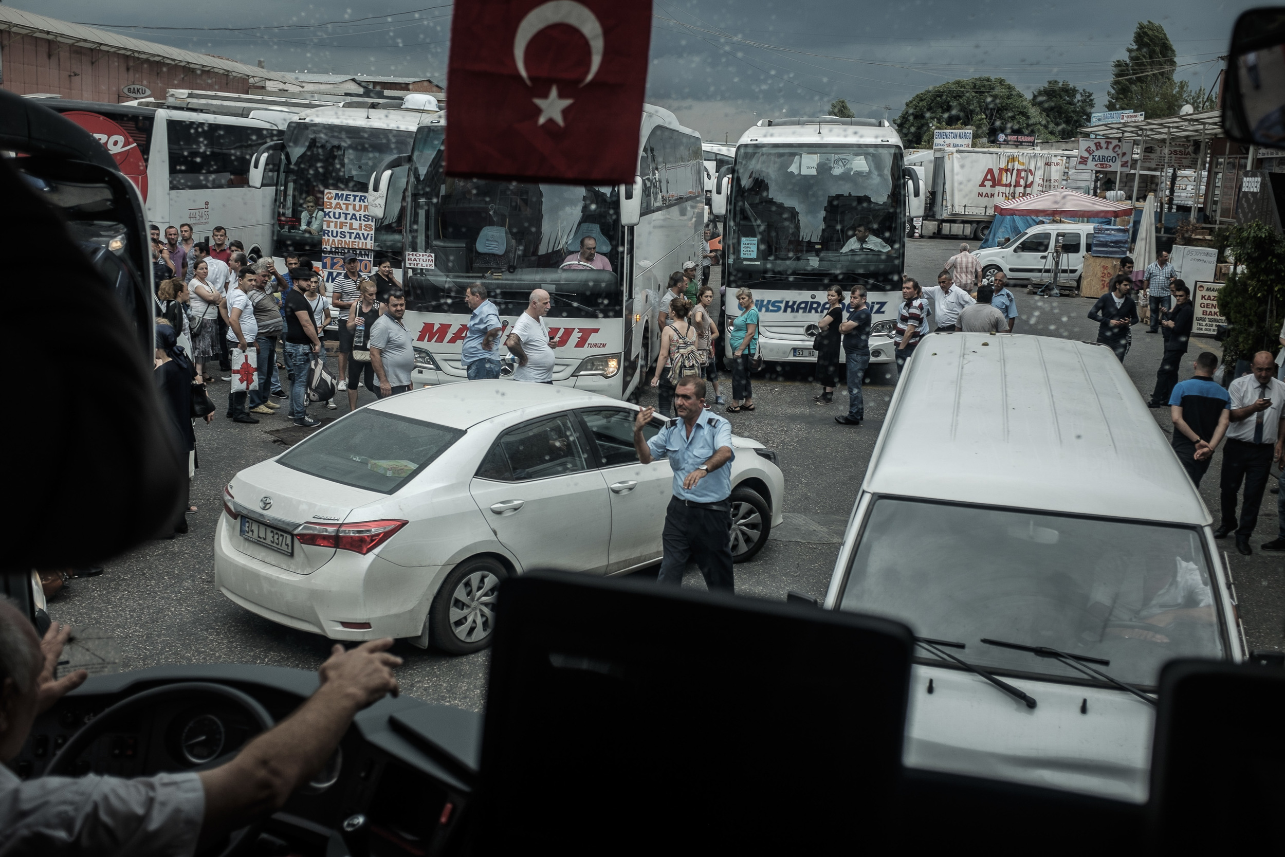 Arrival to Bayrampasha bus station (Istanbul, Turkey). Chaos, migrants, September.
