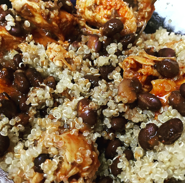 Lazy girl meal: chicken, black beans, quinoa, and enchilada sauce