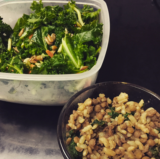 Kale salad yet again, with a lentil, brown rice, and spinach mush!
