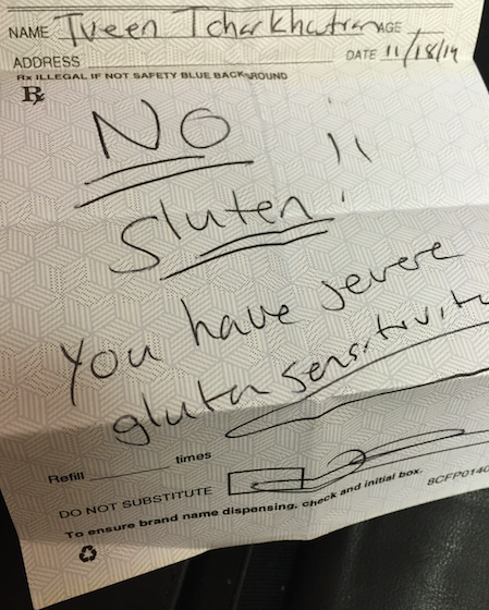 This is the rx my doctor wrote me back in November, when she kindly reminded me that I NEED to be gluten free! I found it this week in my wallet, and realized that I need to start taking care of myself and my body, and treat it the way it needs to be treated.