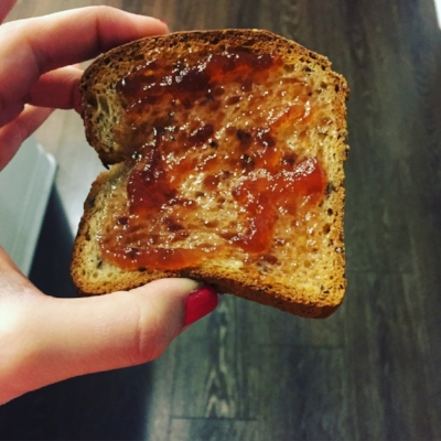 Gluten free toast with some jam before my workout