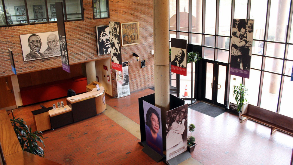The main lobby of the King Center on Auburn Avenue in Atlanta.   photo by Wally Gobetz, Flickr