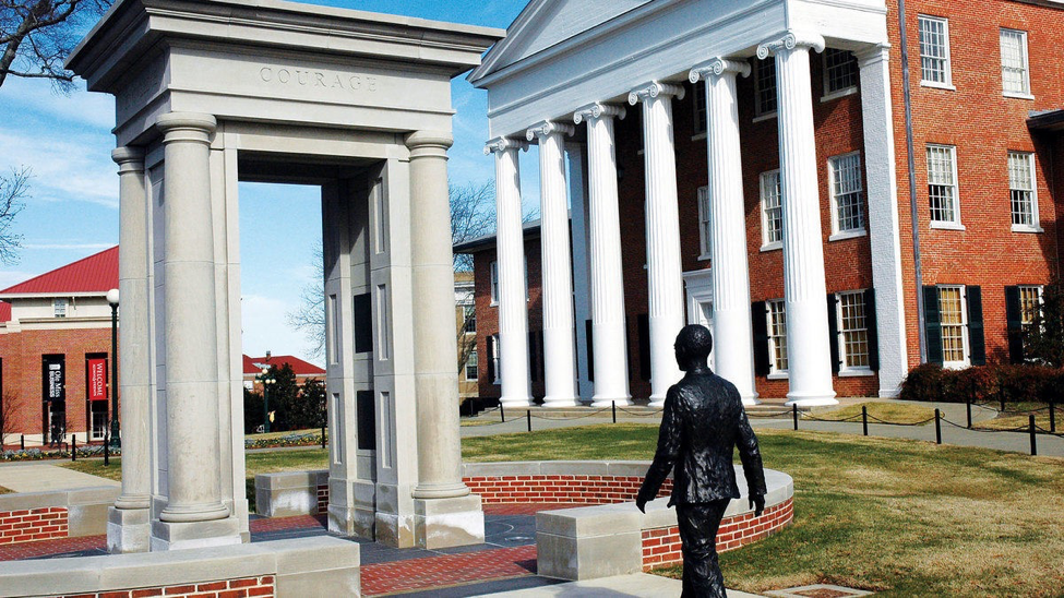 The James Meredith Memorial at the University of Mississippi.   photo by Visit Mississippi, Flickr