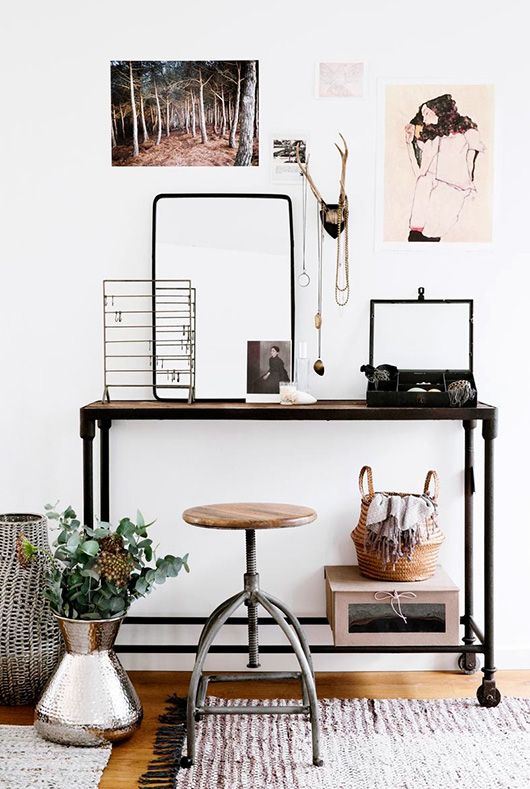 Modern Industrial Office and Vanity | SF Girl by the Bay | Home Organization | www.foundandkept.com