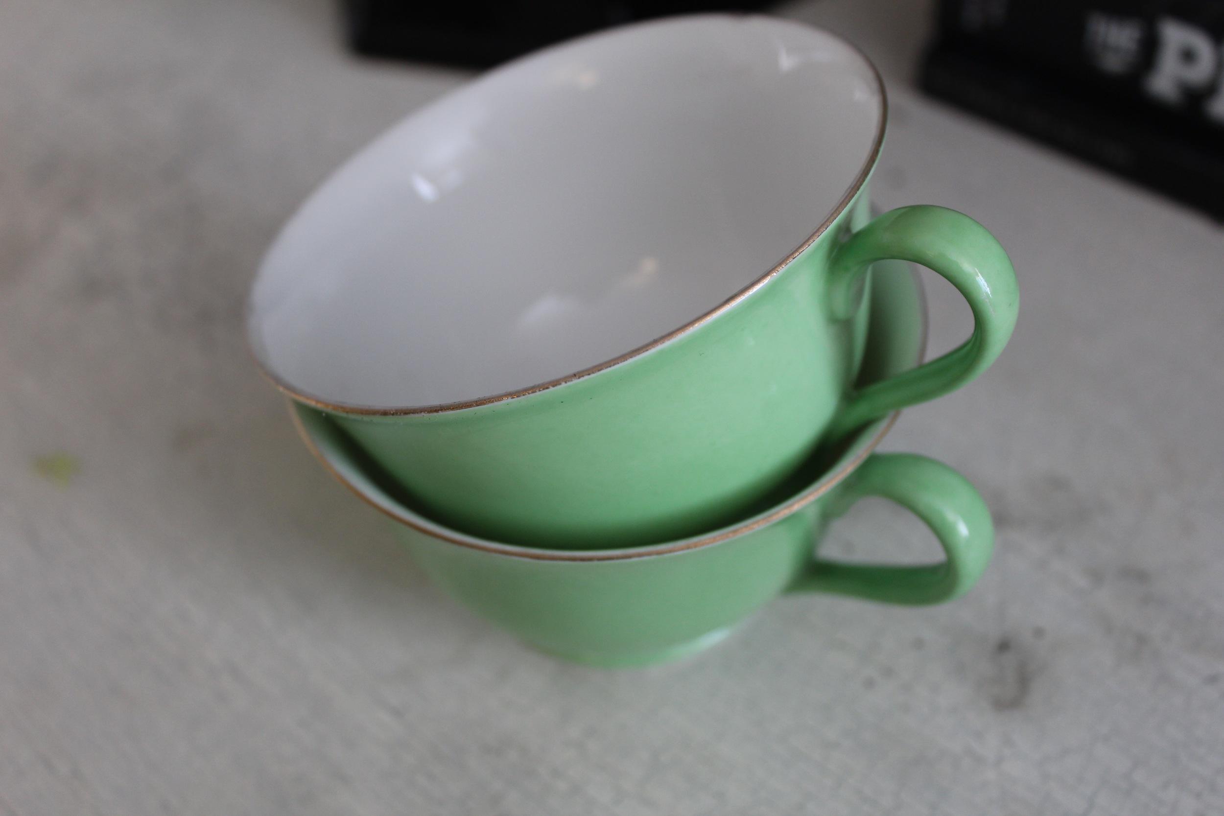 Pale Green Teacups | Interior Design | www.foundandkept.com