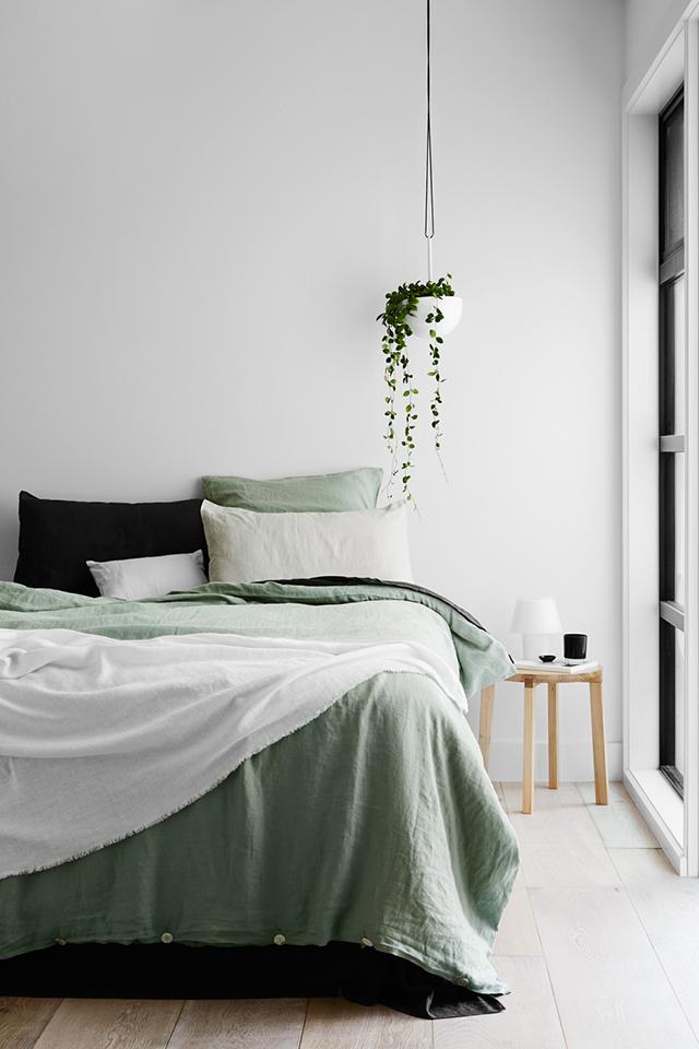Pale Green Linen Bedding | Simple Organic Modern | Interior Design | www.foundandkept.com