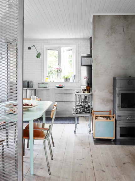 Pale Green Kitchen Table | Industrial Kitchen | Interior Design | www.foundandkept.com
