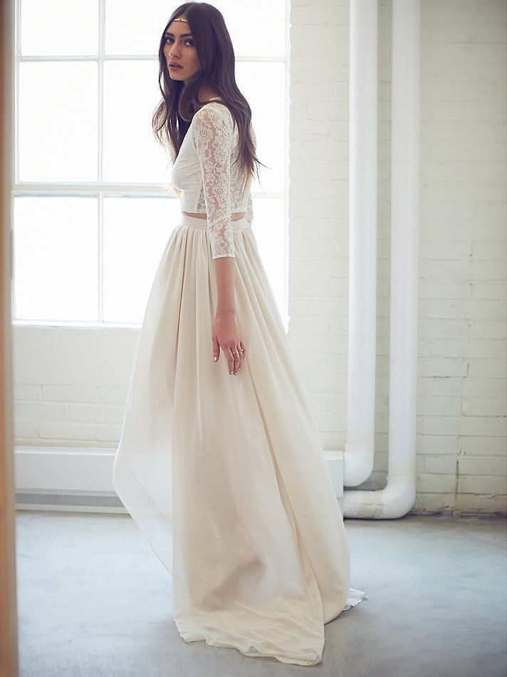 Two-Piece Lace | Free People | Wedding Dress | www.foundandkept.com