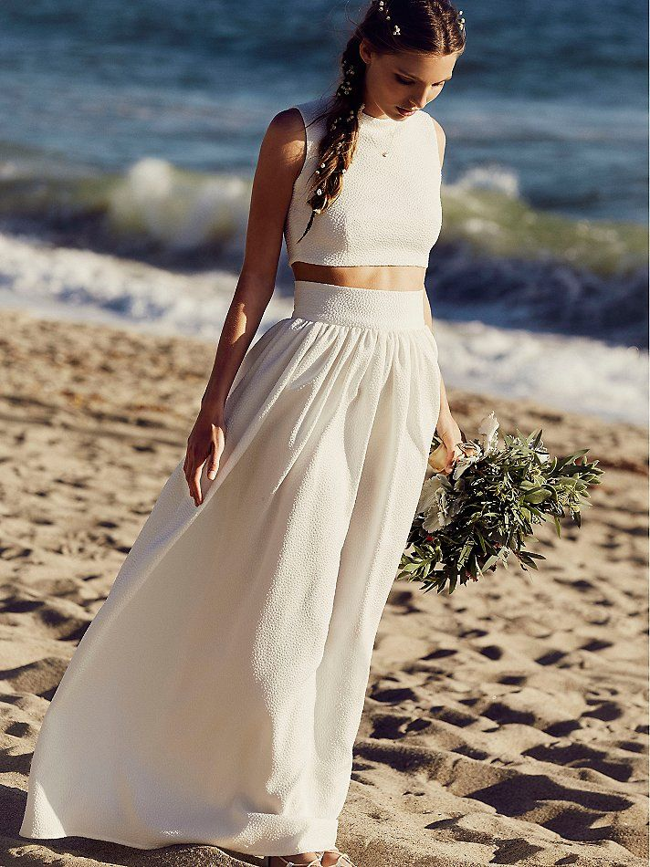 Simple Two-piece | Free People | Wedding Dress | www.foundandkept.com