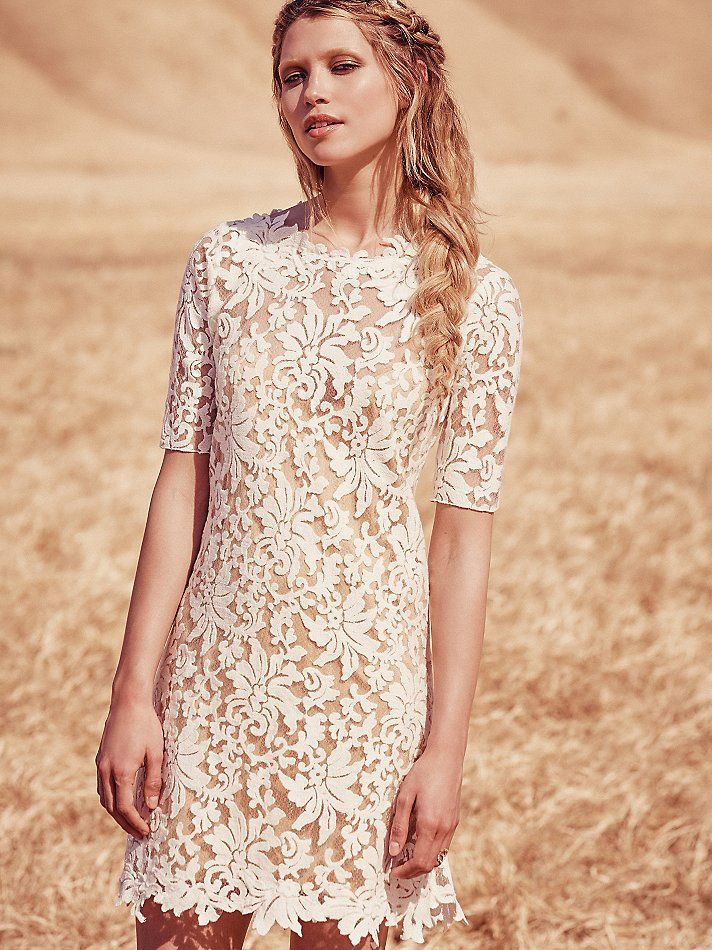 Laser Cut Short Wedding Dress | Free People | Wedding Dress | www.foundandkept.com