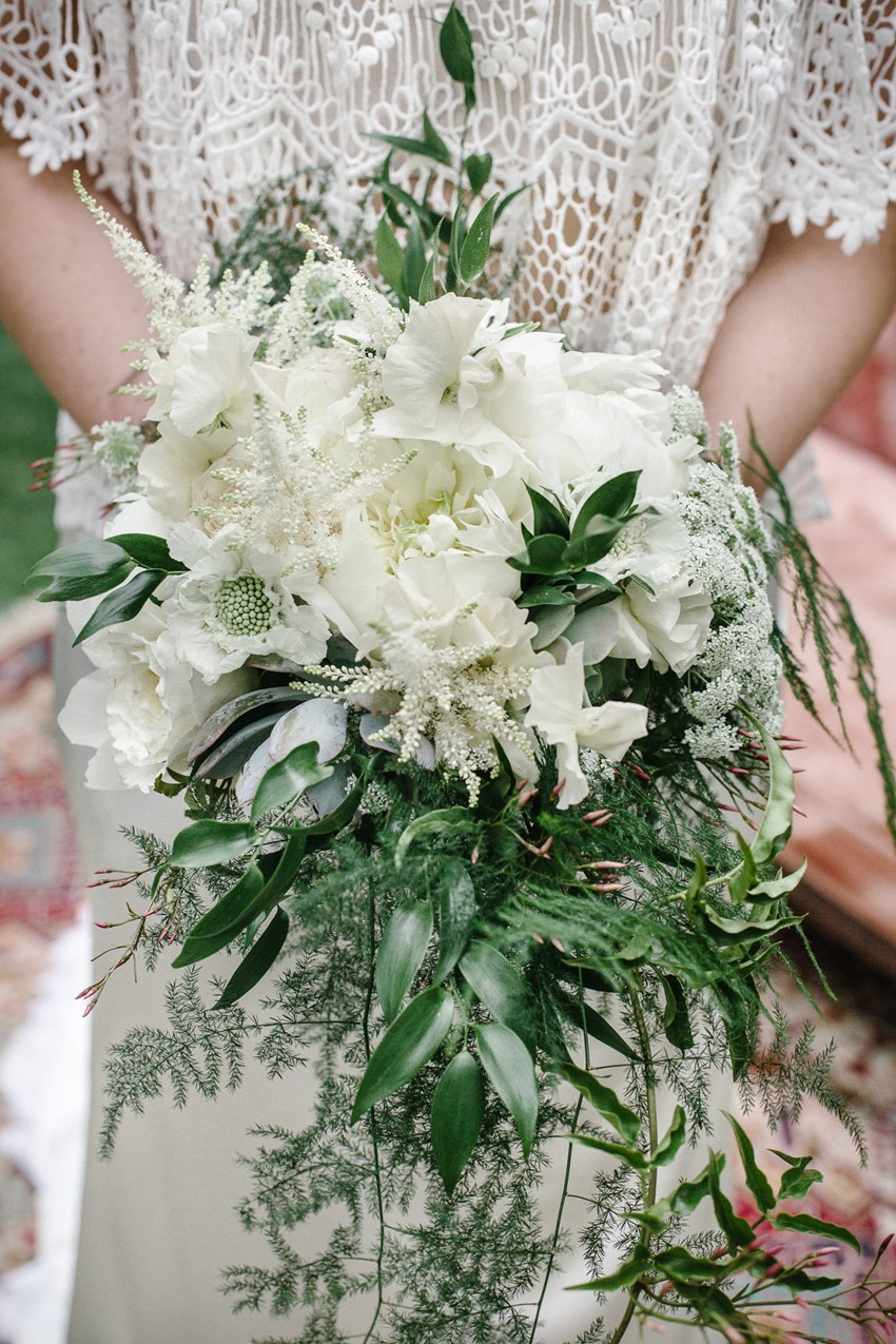 White + Green Cascading Bohemian Bridal Bouquet | Primary Petals | Wedding Design | www.foundandkept.com