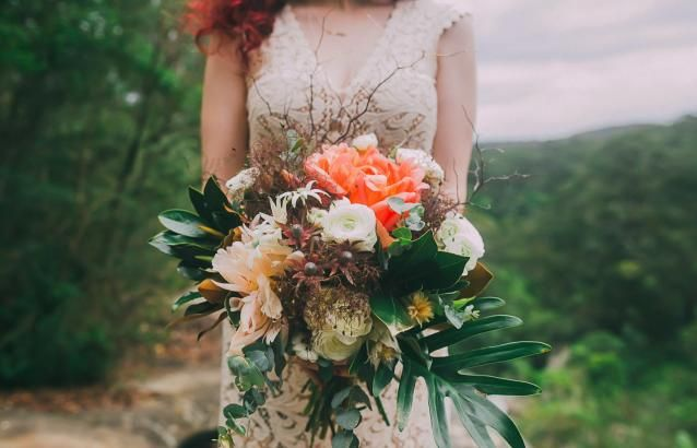 Tropical Bright Orange Bridal Bouquet | Wedding Design | www.foundandkept.com