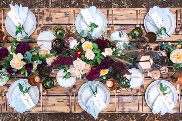 Bohemian Rustic Table Setting | Wedding Design | www.foundandkept.com